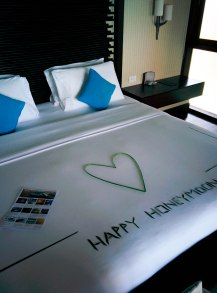 The Bed with Honeymoon Greetings Arrangement by the Staff