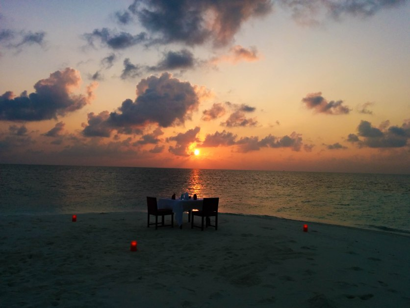 View of our Dining Table on the Sandbank