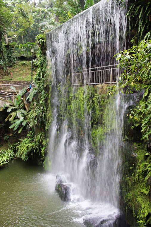 waterfall at the bird park in KL