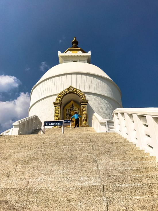 The World Peace Pagoda or Shanti Stupa in Pokhara Nepal