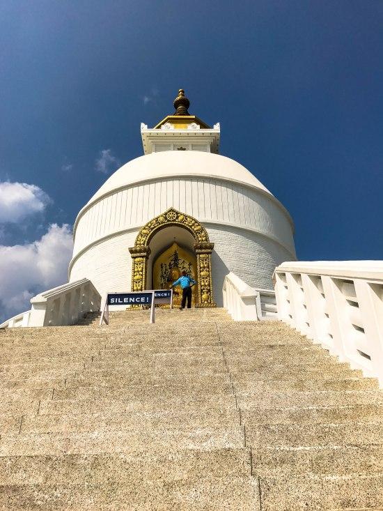 The World Peace Pagoda or Shanti Stupa in Pokhara Nepal