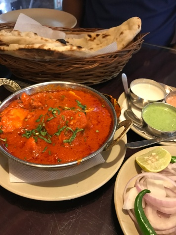 tikka masala curry with hot naan flatbread anatolia restaurant halal food in kathmandu