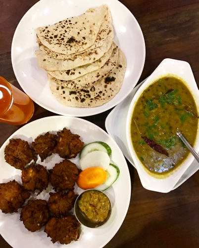 Veg Pakoray, Daal Fry and Hot Chapatis hotel middlepath pokhara vegetarian food