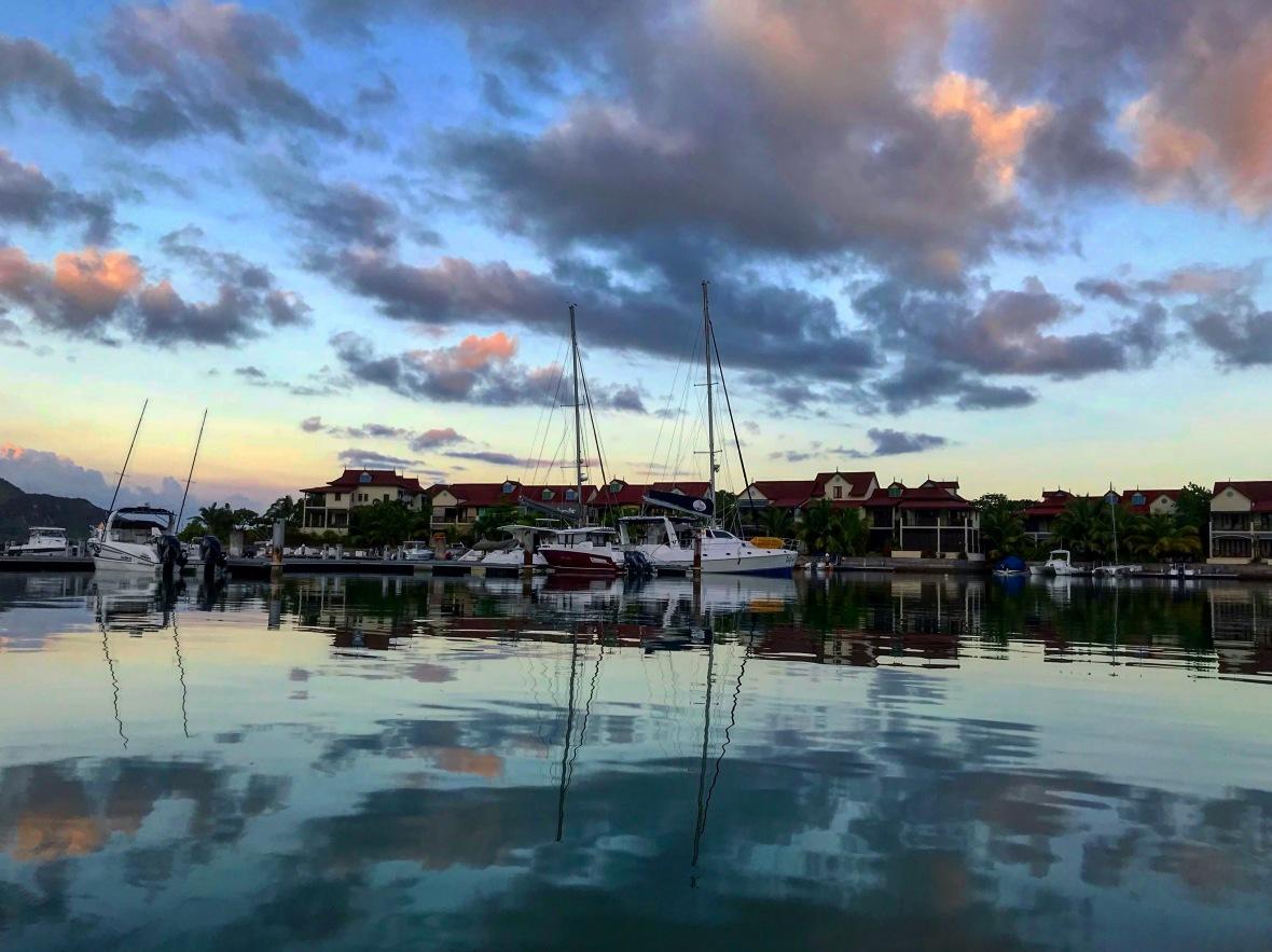 beautiful sunset marina eden island seychelles