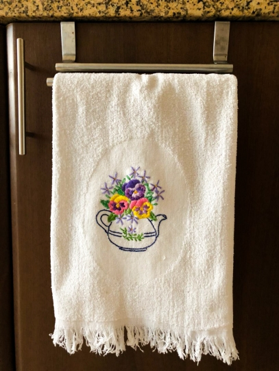 Hand Embroidered Towel by The Home Canvas