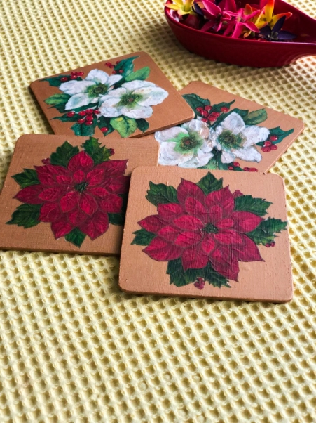 Decoupaged Coasters by The Home Canvas