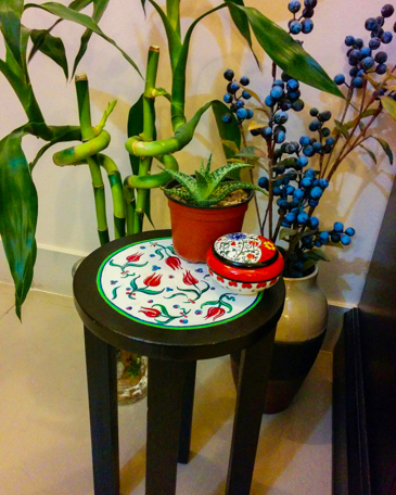 Custom made iznik pottery inspired corner table by Woodpecker